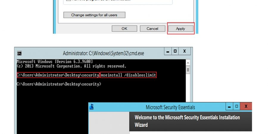 How to install microsoft security essentials in windows server 2012,2016
