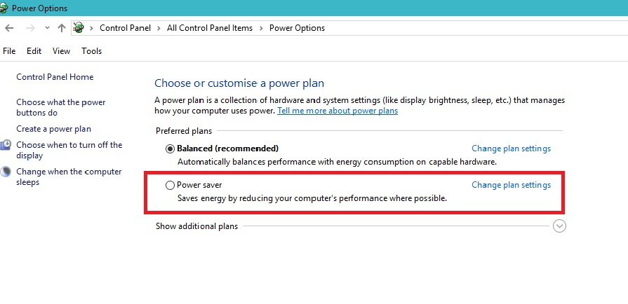 How to set battery power saver mode in windows 10,8,7