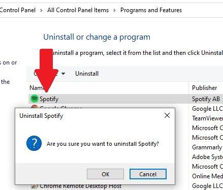 spotify application uninstall