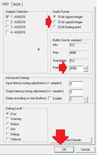 Audio Renderer Error ASIO-driver-rate